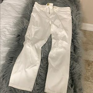 Size 6 regular white american eagle ripped jeans